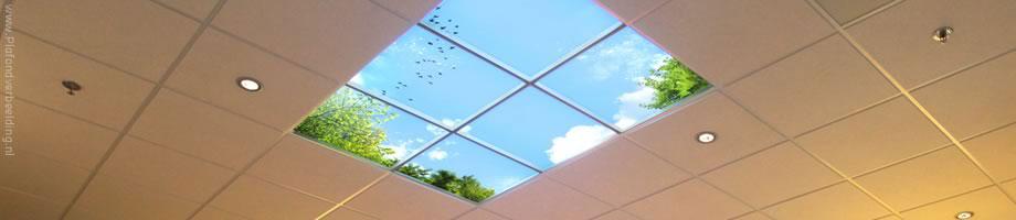 plafond met wolken fotos en dimbare led verlichting