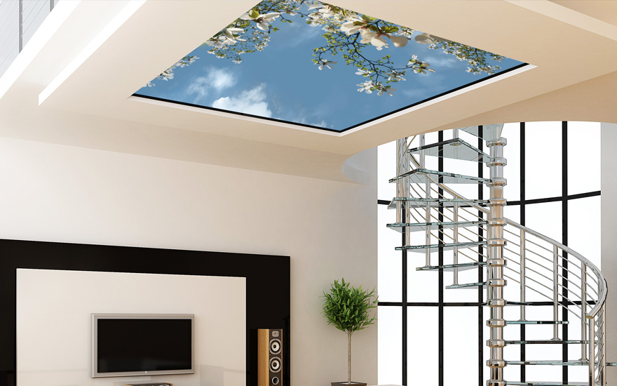 Wolkenplafonds met LED-verlichting, geluid en geur ...